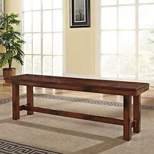 Details about Dark Oak Kitchen Bench Rectangular Wood Seat Dining Room  Furniture Home Decor