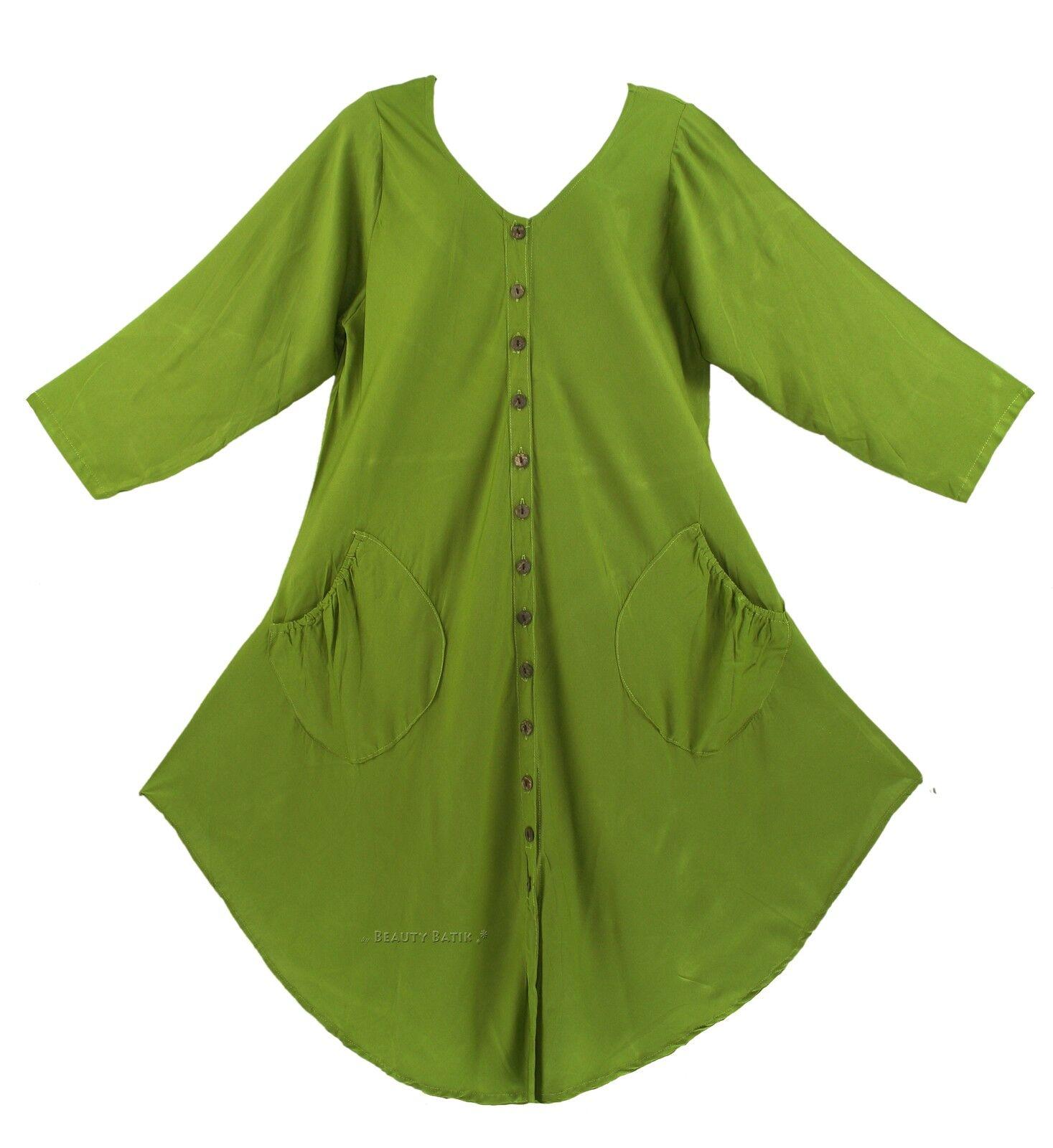 BeautyBatik Avocado green Women Lagenlook Long Sleeve Plus Size Vest Tunic Top