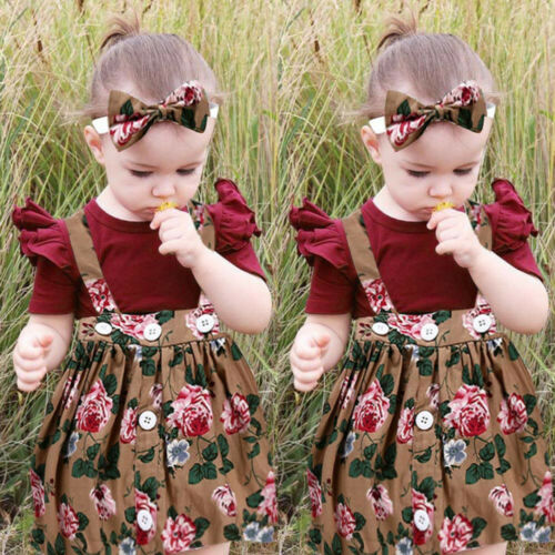 3Pcs Baby Toddler Girls Kids Overall Skirt Dress+Headband+Romper Clothes Outfits