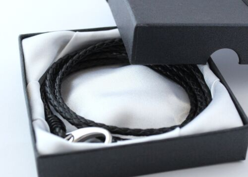 MENS BLACK LEATHER WRAP BRACELET ENGRAVED  PERSONALISED FREE GIFT BOX INCLUDED