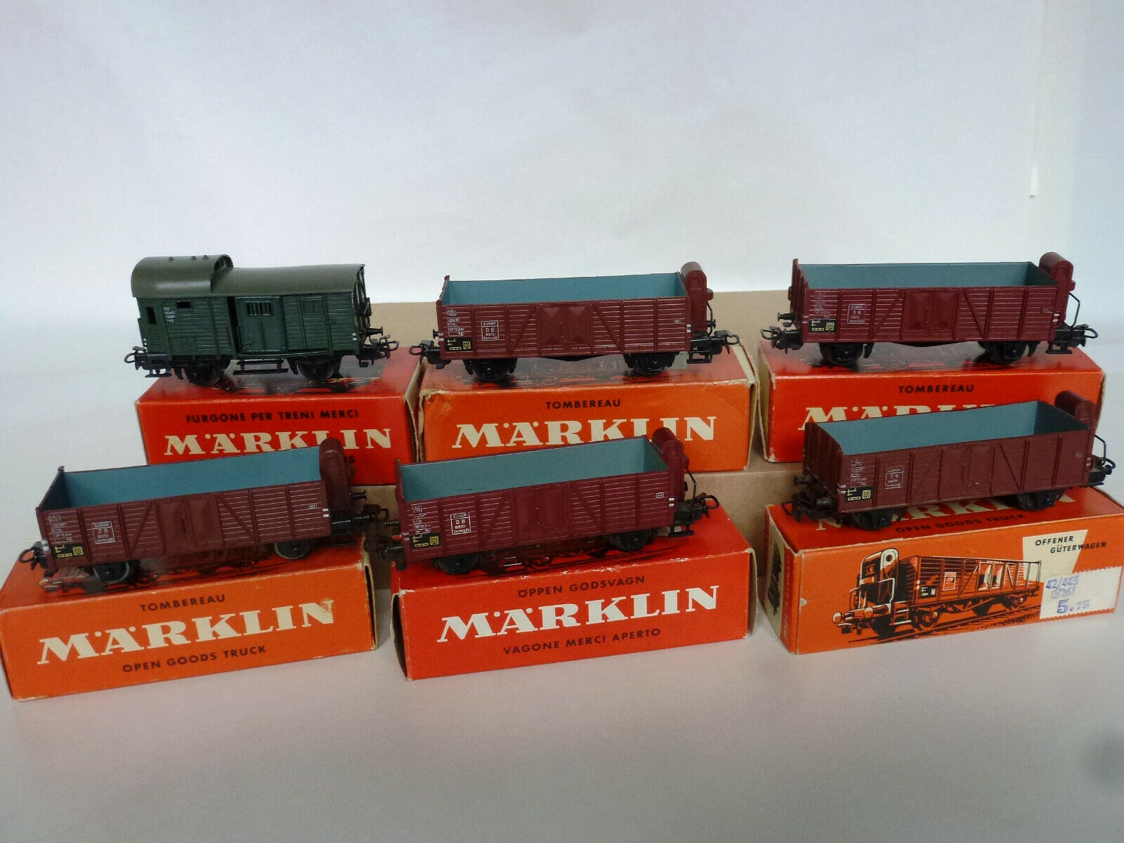 4601-311 1-4600-sechs Güterwagen MÄRKLIN H0 50er 60er Jahre
