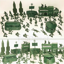 56 pcs Military Missile Base Model Playset Toy Soldier Green 5cm Figure Army Men