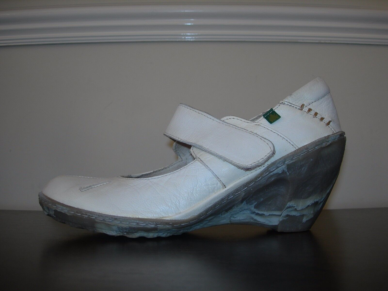 EL NATURALISTA WOMEN'S SHOES MARY JANES WEDGE IVORY LEATHER EU 38- 39   UK 5- 6