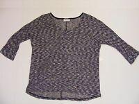 Bobbie Brooks Ladies Size L Large Black White Thin Knit Sweater 3/4 Sleeve