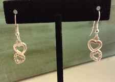Sparkle Double Rhinestone Heart Earrings Dangle Outline Open Love Silver Tone
