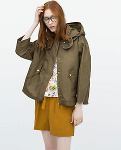 NEW Ladies ZARA Woman Khaki Green Short Parka Removable Jacket ...
