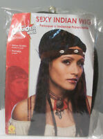 Deluxe Adult Indian Native American Black Wig Cosplay Costume Pocahontas Wig Nip