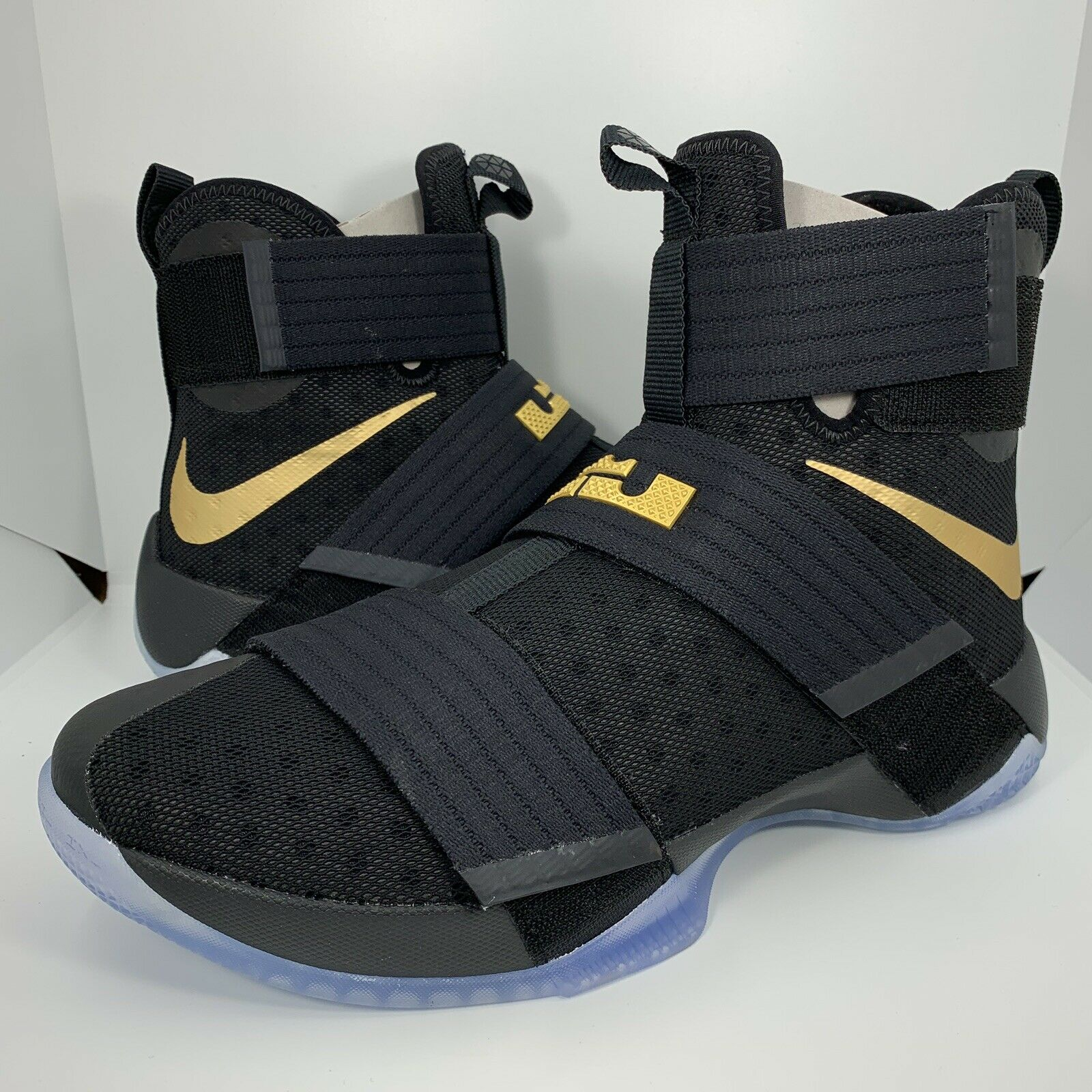 NIKE iD ZOOM LEBRON SOLDIER 10 Game 7 CHAMPIONSHIP BLACK gold Men's Size 9