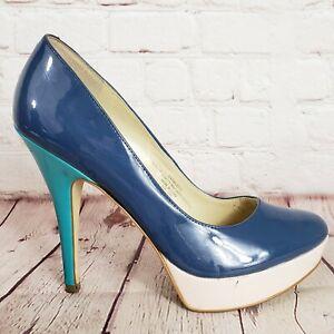 Enzo-Angiolini-Blue-Patent-Platform-Stiletto-Heels-Pumps-Size-7-5-M-Shoes