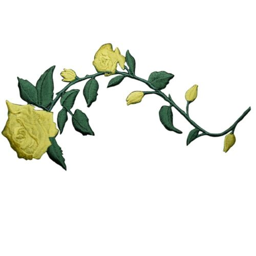 """Yellow Rose Applique Patch Iron on Long Stem Flower Badge 5.5/"""""""