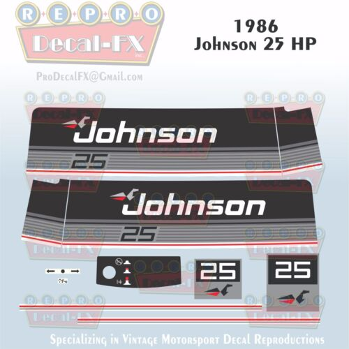 1986 Johnson 25 HP Sea-Horse Outboard Reproduction 11 Piece Marine Vinyl Decals