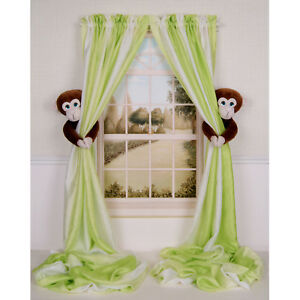 CURTAIN-CRITTERS-DESIGNER-NURSERY-KIDS-ROOM-MONKEY-CURTAIN-TIEBACK-HOLDBACK-SET