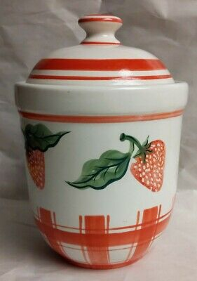 Authentic Kitchen Canister Lid Strawberry Decorations Ceramic Ebay