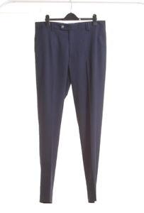Mango Hombre Comodidad A Medida Pantalones Formales Pantalones Traje De Sarga Azul Marino Ebay
