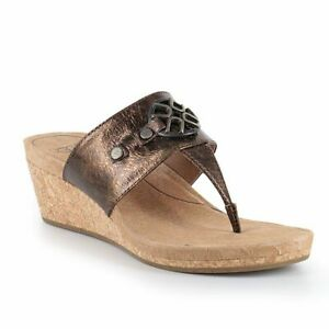 5ee106f1c99 Details about UGG Australia Women's Briella Pony Brown Bronze Wedge Sandal  1009853 Sz 8 NEW