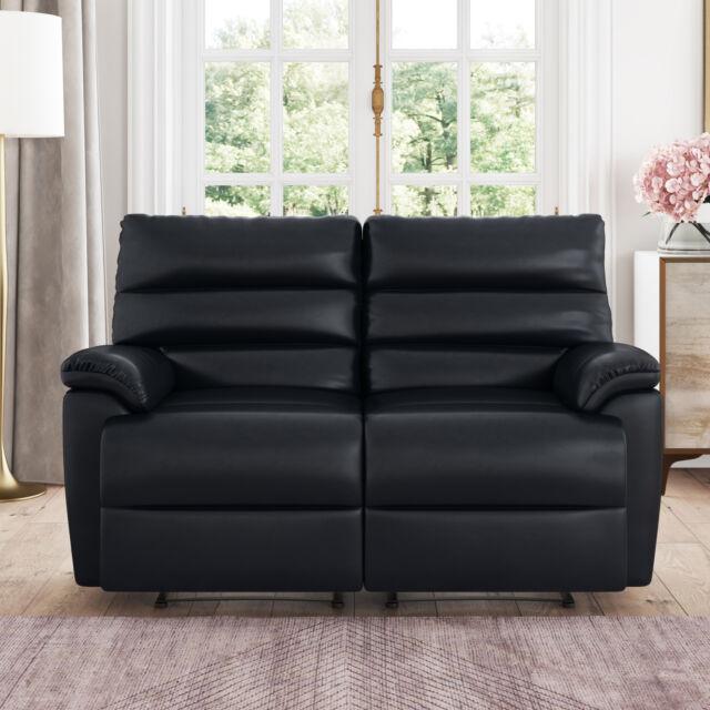 Bristol Recliner Loveseat In Faux Leather, Black
