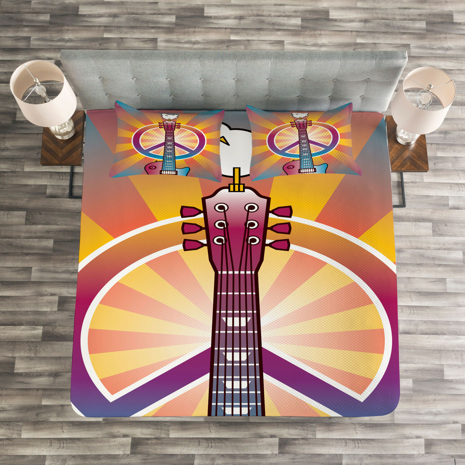 Hippie Quilted Bedspread & Pillow Shams Set, Guitar Peace Symbol Print