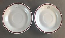 Authentic Vintage French Cafe Absinthe Saucers 5fr Pillivuyt France Red Stripe