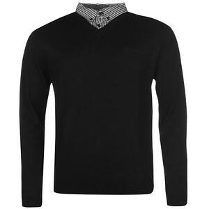 Treu ✅ Pierre Cardin Herren Strick Pullover Hemd Ausschnitt Kragen Einteilig Schwarz
