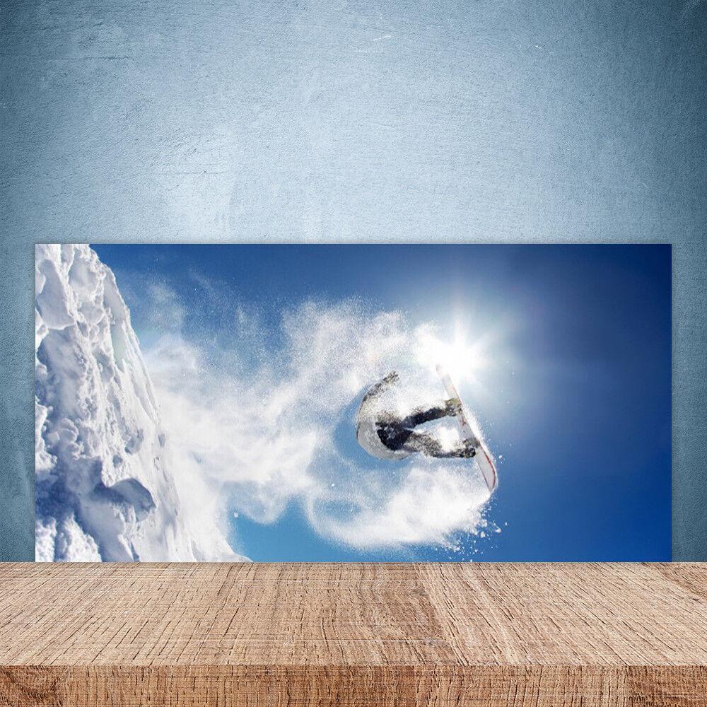 Crédence de cuisine en verre Panneau Paroi Sports 100x50 Art Sports Paroi D'hiver Neige 52e9f8