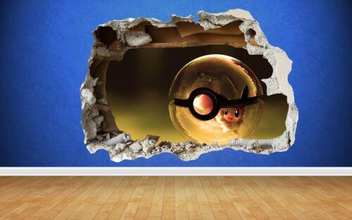 Pokemon Go Pikachu 3D Style smashed wall sticker kids childrens bedroom vinyl