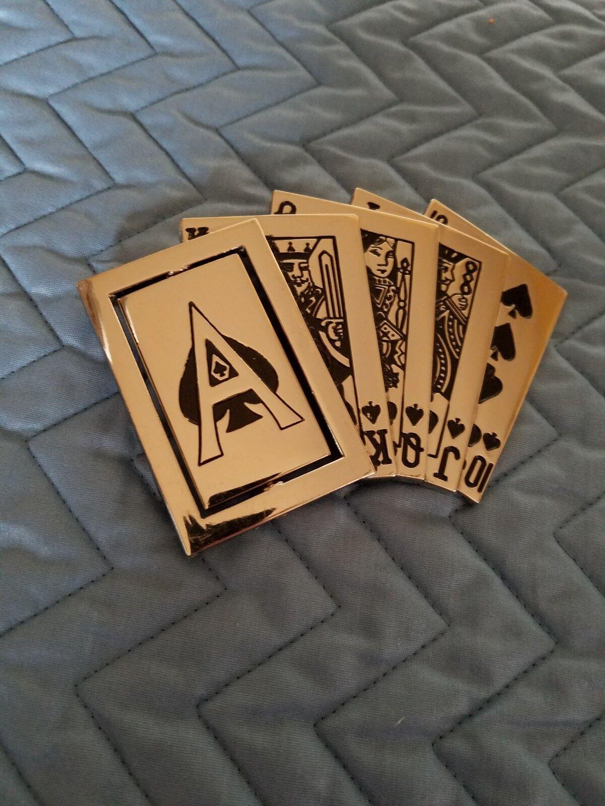 Royal Flush Ace of Spades Cards Belt Buckle Vintage