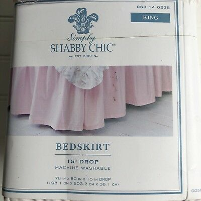 Simply Shabby Chic Ruffled Pink Bed Skirt Cotton King Rachel Ashwell With Flaw