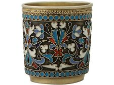 Russian Silver Gilt & Polychrome Cloisonné Enamel Vodka Cup/Beaker, Antique 1895