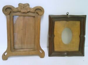 2 Frame Picture Holder Walnut Art Nouveau And Fir Tree Tint Mahogany Antique