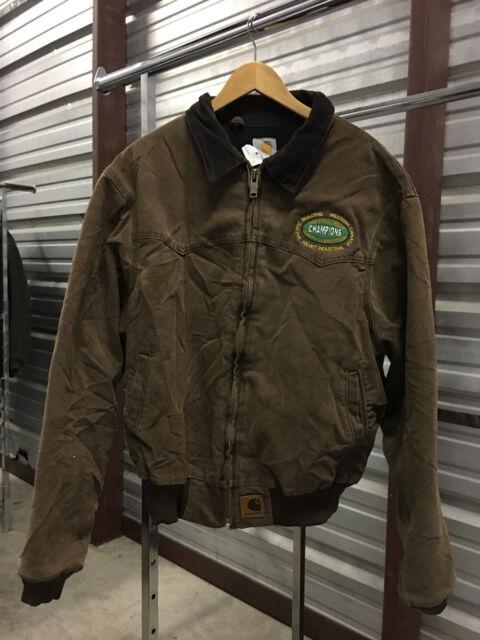 d85eb447329 MENS XL - Carhartt J14 Sandstone Flannel Qulted Lined Santa Fe Jacket Brown