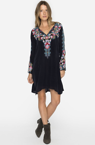 NWT-Embroidered-JOHNNY-WAS-Tie-Neck-TANYAH-DRESS-w-SLIP-Long-Sleeve-XS-288