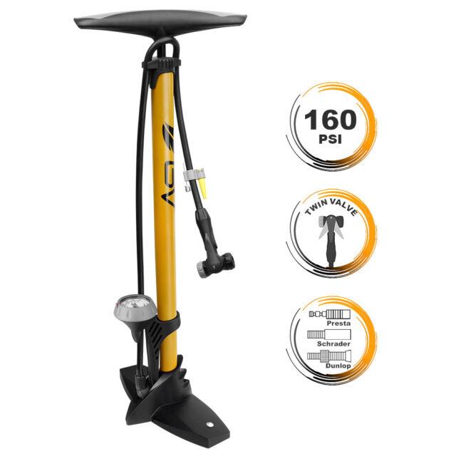 Lumintrail 160 PSI High Pressure Dual Valve Bike Floor Pump with Gauge Presta...