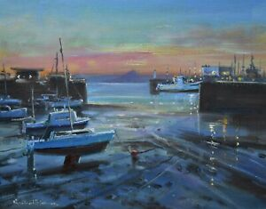 Richard-Blowey-Original-Oil-Painting-View-To-St-Michael-039-s-Mount-Cornish-Art