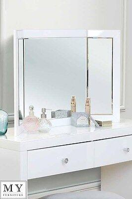 COLLETA- Triple Folding white glass dressing  table mirror - (ID:996)