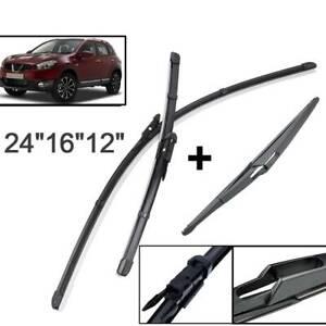 Front-Rear-Windscreen-Flat-Wiper-Blades-Kit-Set-For-Nissan-Qashqai-J10-2007-2013