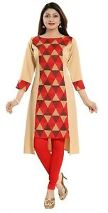 Women-Indian-Printed-Top-Asymmetirc-Kurti-Tunic-Kurta-Shirt-Dress-SC2304