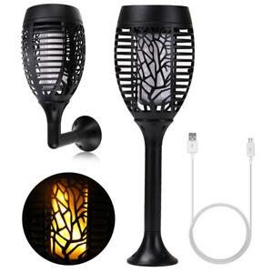 LED-USB-Solar-Taschenlampen-Flamme-Lampe-Gartenlampe-Beleuchtung-Garten-Party-DE