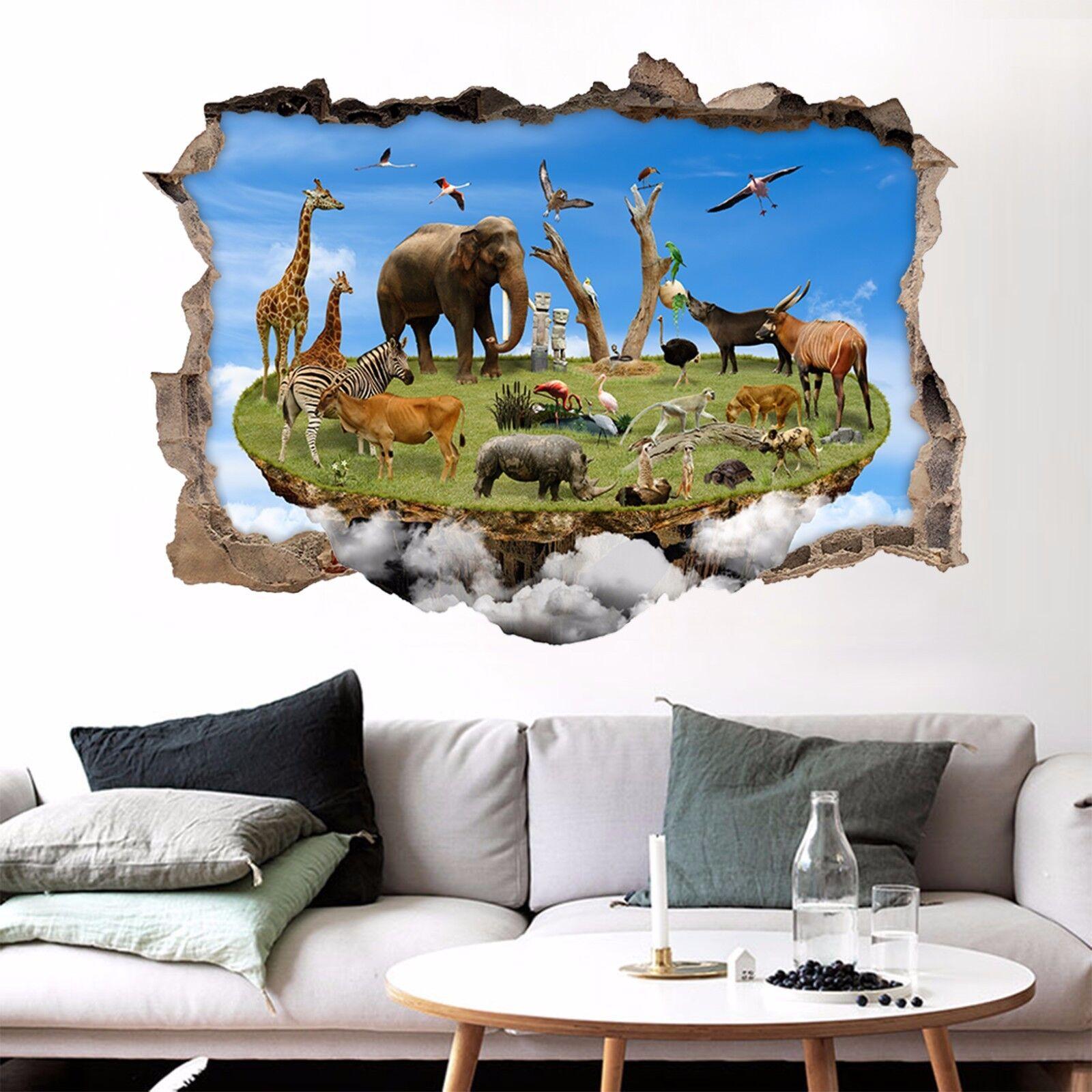 3D Tierinsel 72 Mauer Murals Mauer Aufklebe Decal Durchbruch AJ WALL DE Kyra