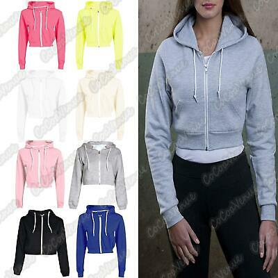 New Ladies Long Sleeve Crop Hooded Sweatshirt Zip Up Fleece Plain Jumper Top
