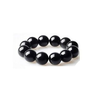 Natural-Crystal-Obsidian-Gemstone-Bead-Men-Women-Lucky-Charm-Energy-Bracelet-UK