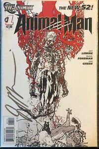 ANIMAL-MAN-1-New-52-Sketch-B-amp-W-Variant-DC-2011-SIGNED-BY-JEFF-LEMIRE