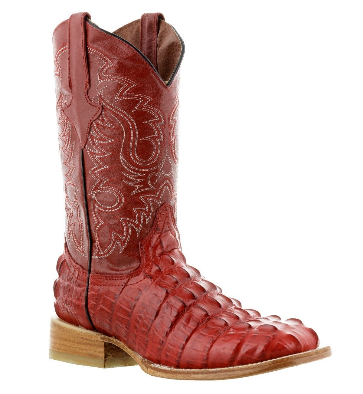 Men's New TW Crocodile Alligator Tail Leather Cowboy Western Square Boots Red