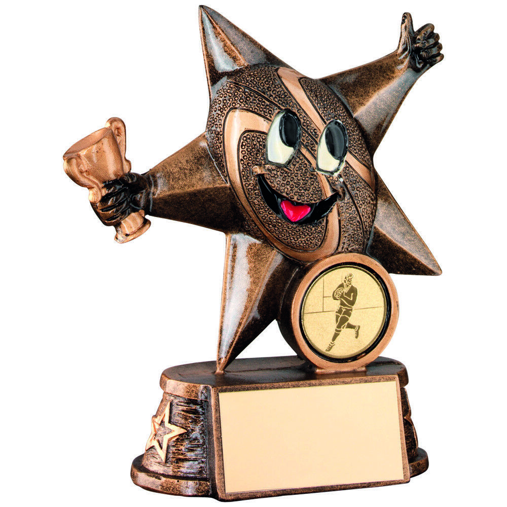 Rugby FUN Star Rugby Ball Novelty Comic Trophy Award FREE Engraving 2 Sizes