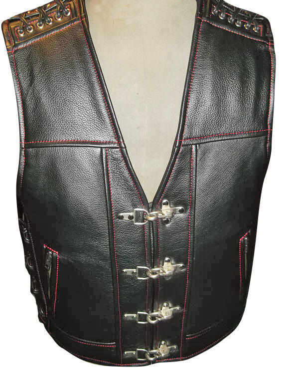 männer Real Cow leder Bikers Vest Motorcycle Contrast Stitch Thick leder Vest