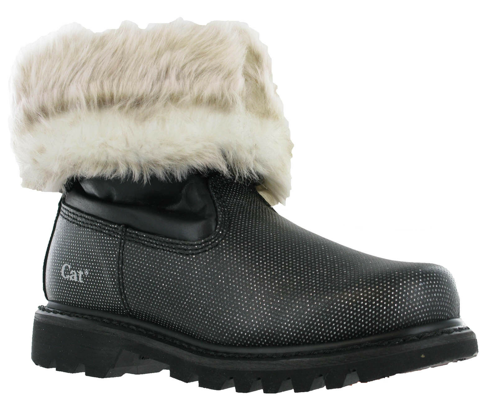 Caterpillar Bruiser Scrunch Fur Black Silver Slip On Womens Fashion Boots UK3-4