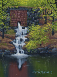 Original Acrylic Painting of a Brick Waterfall 9x12 Landscap by Timothy Stanford