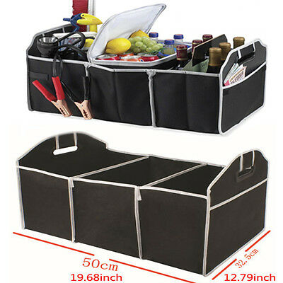 Black Portable Collapsible Folding Flat Trunk Organizer for Car SUV Truck Vans