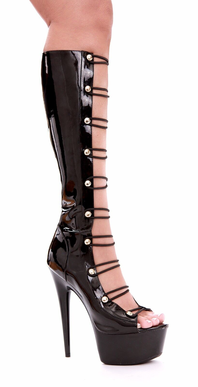 Knee High Boots Elastic Strap Open Front 2
