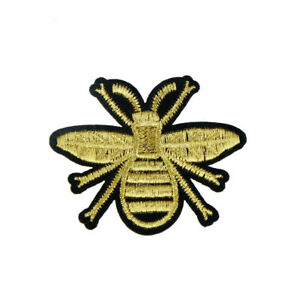 golden-bee-embroidery-iron-sew-on-patch-applique-hat-bag-badge-motif-FT