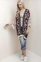 Kimono Pink Black Ivory Oversized Poncho Mixed Print Tassel Edges Easy Fit L